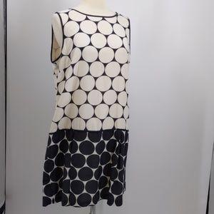 Loft black/white graphic shift dress-sz 14
